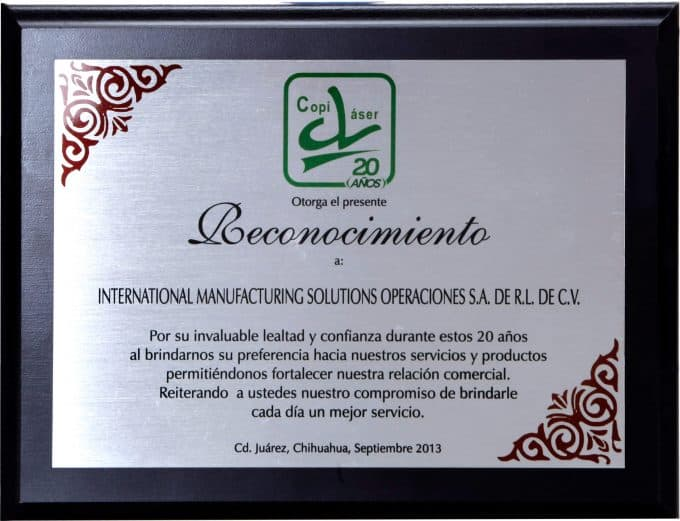 Recognition for services provided